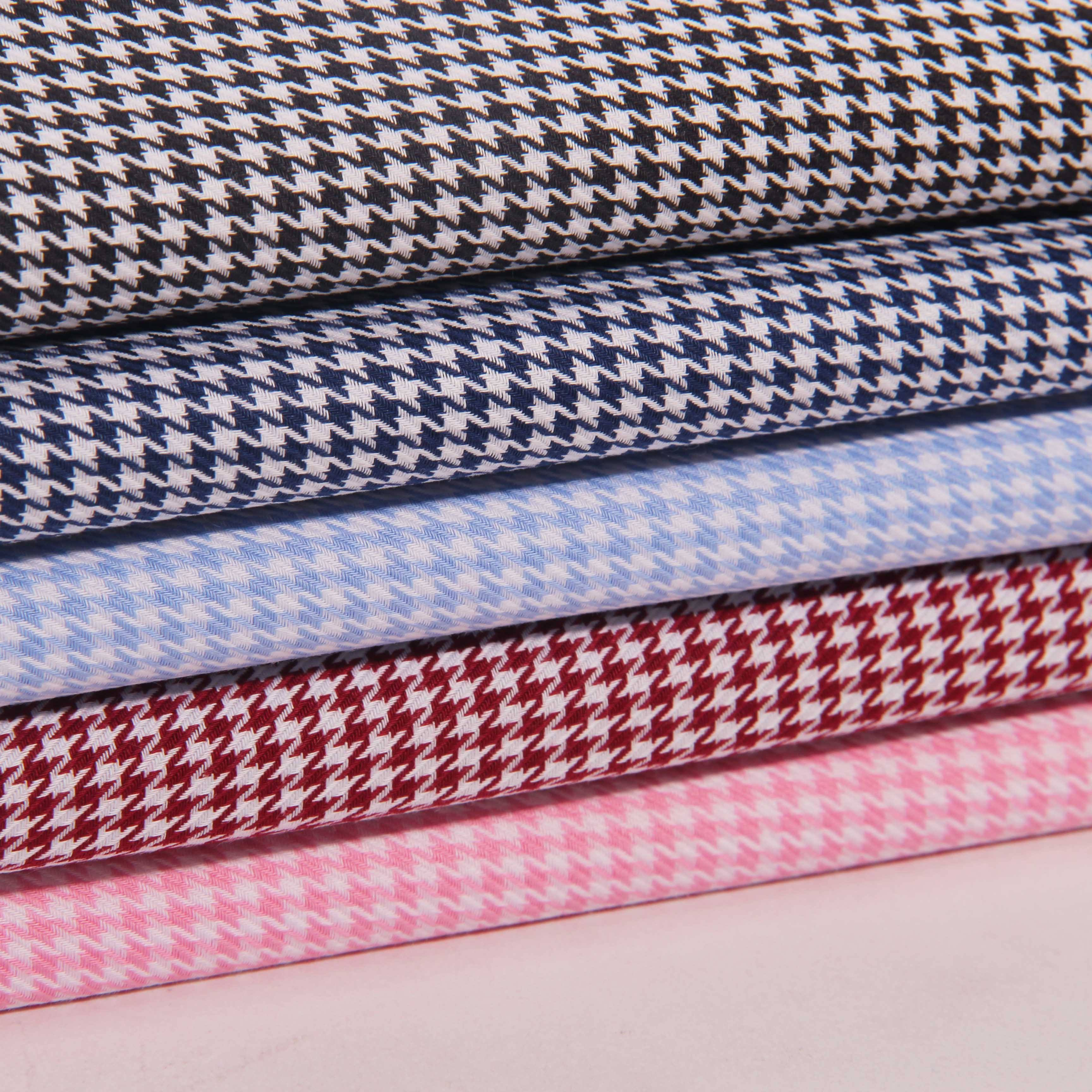 classic houndstooth 100 cotton shirts men and women Egyptian long-staple cotton yarn dyed fabric