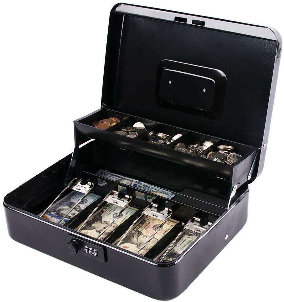 zhenzhi Combination lock with money box and lock, metal money box security, cash register, black