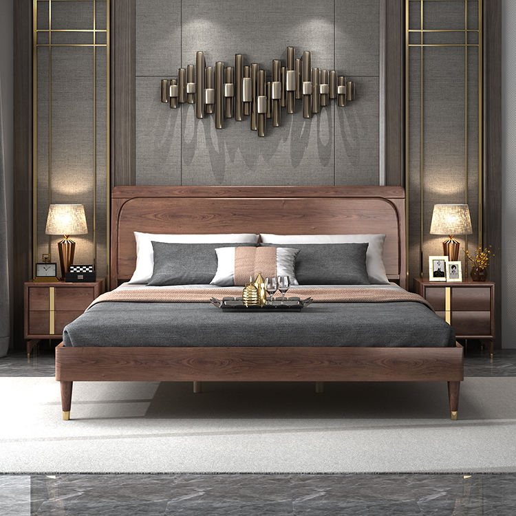 Light Luxury Nordic Style Bedroom Wedding Solid Wooden Bed Double