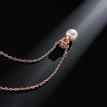 Top Quality Fashion Simple Style Women 45+5CM Copper Necklace Chain 10mm*8mm Zircon Pearl Pendant Necklace