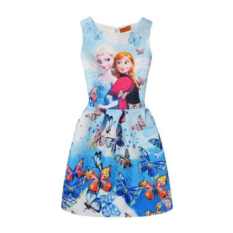 28 Hot Style Anna Elsa Princess Dresses Summer Girls Dress Floral Butterfly Print Sleeveless Dress Party Costume Kids Clothes