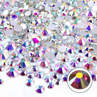 Wholesale 2mm 3mm 4mm 5mm 6mm Jelly White AB Crystal Stones Round Flatback Resin Rhinestone for DIY Crafts