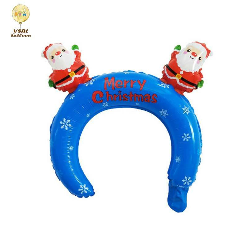 2020 Hot Selling New Product Cartoon Animal Shaped Kids Toys Foil Helium Headband Foil Balloon With Christmas Design