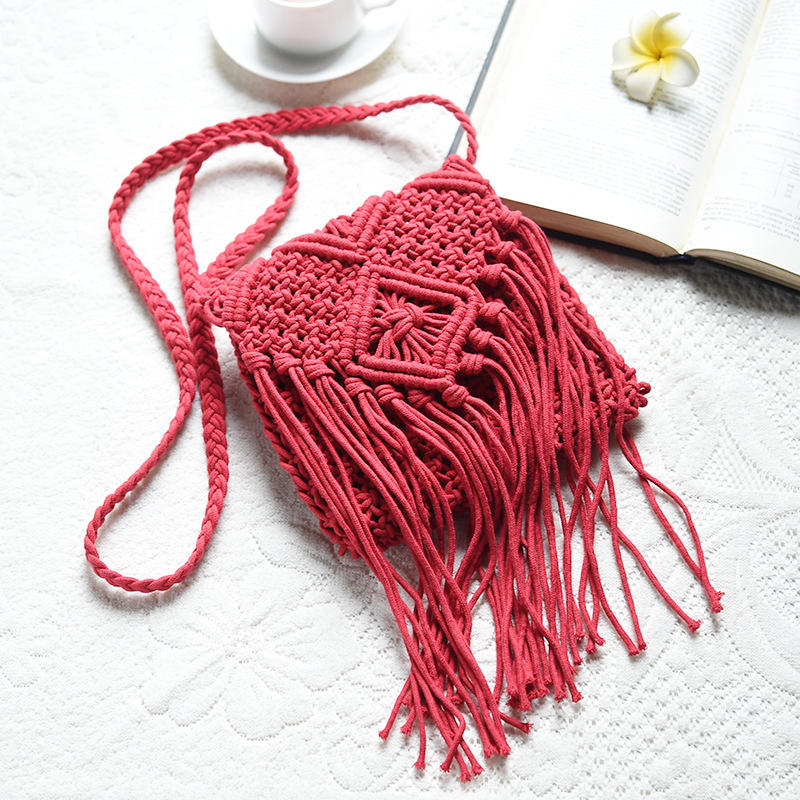 JAKIJAYI Solid Color handmade handbag wholesale unique women hand bags with Tassel