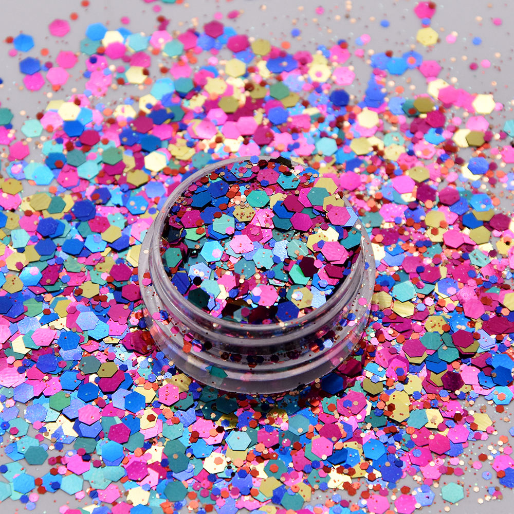 Popular different chunky glitter colors in pots cutom nail beauty glitter