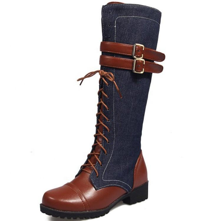 2020 China Factory Women Shoes Lace-Up Patchwork Knight Boot Metal Button Big Size 46 New Style Knee High Femmes Winter Boots