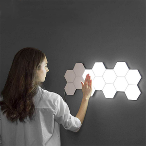 Kreatif Light Indoor Touch Induksi Modular Dekoratif DIY Quantum Hexagonal LED Sarang Lebah Cahaya