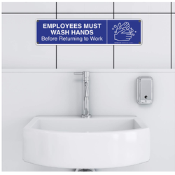 Employees Must Wash Hands Before Returning to Work Sign, 3x12 Inches, Rust Free 0.40 Aluminum, Fade Resistant, Easy Mounting