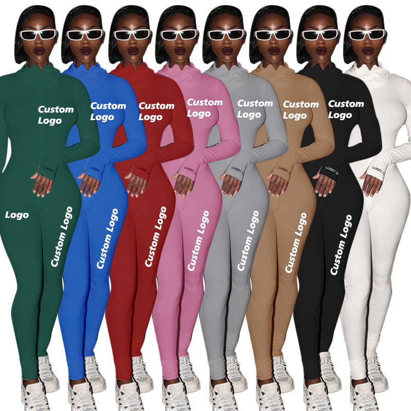 HG92 Women Jumpsuits Solid Long Sleeves Rompers Pant Women Bodysuit One Piece Outfit Girls Tights Stretch Jogging Suit with logo