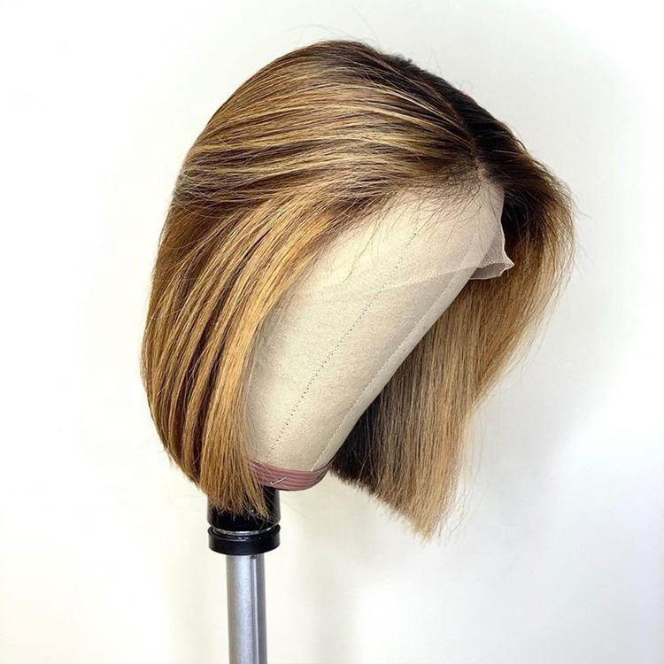 Short Bob Highlight 4/27 Color Human Hair Lace Front Wigs Brown Ombre Remy Hair Pre-Plucked Swiss Lace Wigs