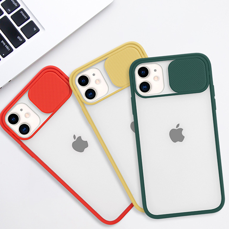 New Lens Slide Camera Protective Soft silicone PC Mobile Cell Phone Case Cover For Iphone 11 Case With Camera Protection
