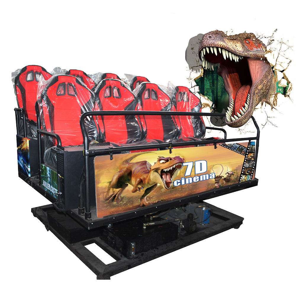 2019 mobile truck 5D 7D shooting interactive 7d cinema with jurassic park dinosaurs game