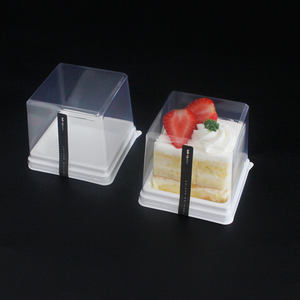 Factory pastry packaging small size square clear cake box plastic dessert containers