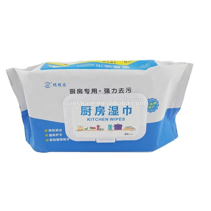 OEM high quality non- remover kitchen wet wipes greas and grime BBQ cleaning wipes wet
