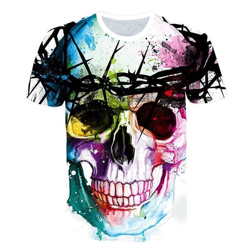 Mens Tops tee Men Short Sleeve Tops Shirt Fashion 3D Print Skulls Printing Men Hip hop T-shirt Full Print