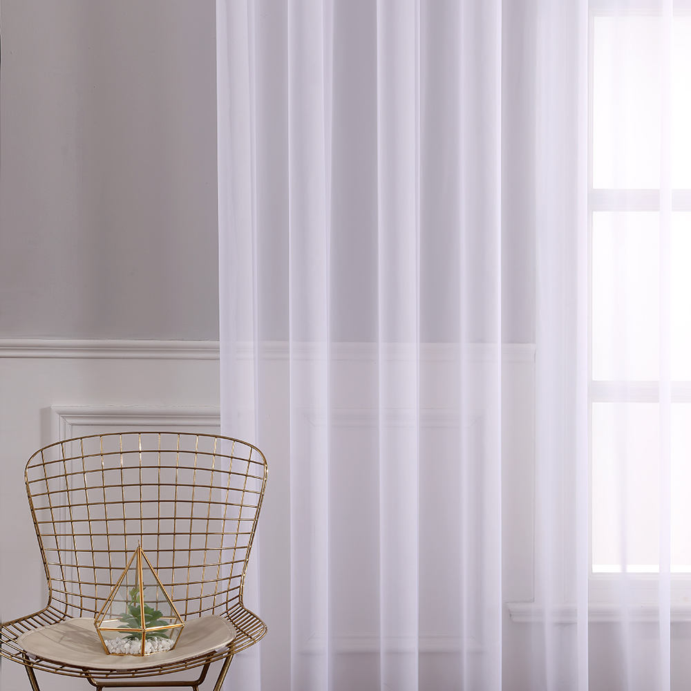 "White Curtains Grommet Textured Solid Sheer Curtains 84 Inches Long for Bedroom (54'' Wide x 84"" Long) White"