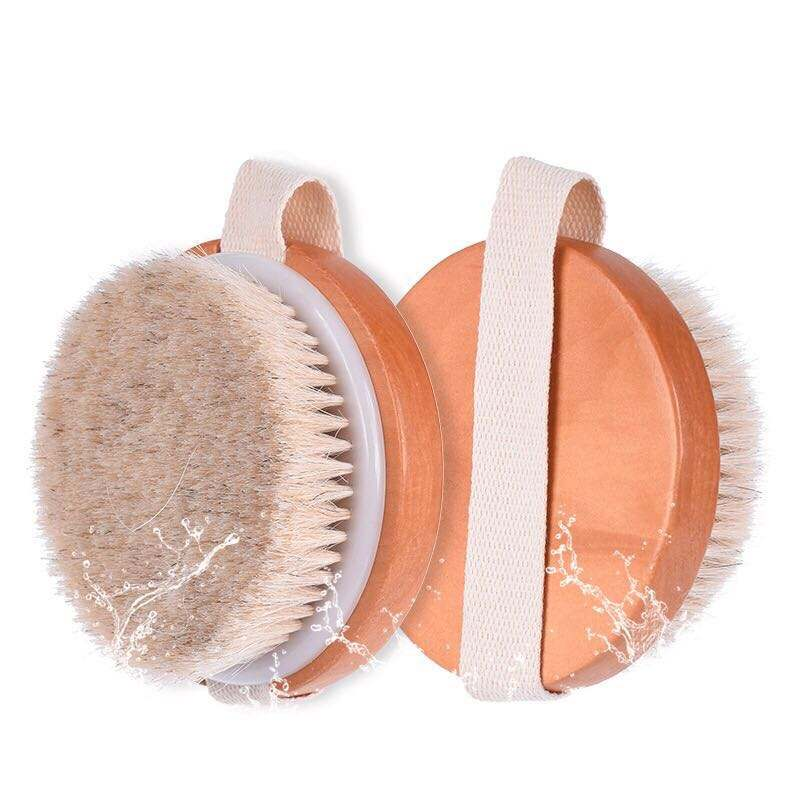 High Quality Round Wooden Scrub And Wash Bath Massage Body Brush With Soft Horse Hair