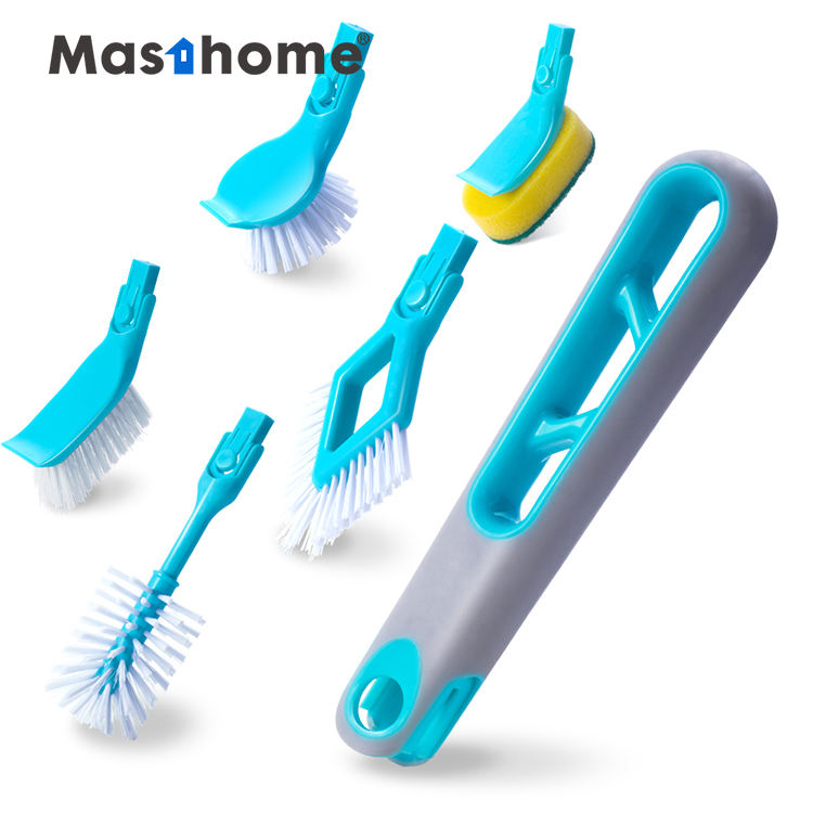Masthome 3 in 1 multi-head cleaning set Long Handle Plastic sponge brush Bottle Cleaning Rotating Brush