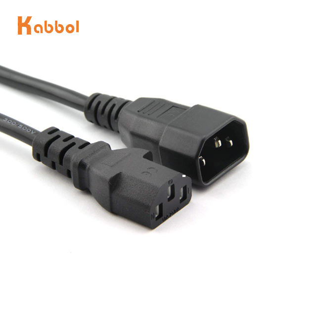 CE VDE 3 Pin IEC Electric Extension Cable Female To Male AC Computer Monitor C13 C14 Connector Power Cord