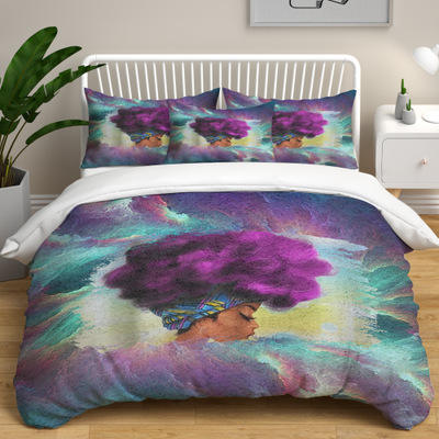 custom printed bed sheets, african black girl stock lot bed sheet/