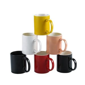 JQY White Colored Ceramic Classic Coffee Mugs Large Handles with 11oz Capacity For hotel Restaurant