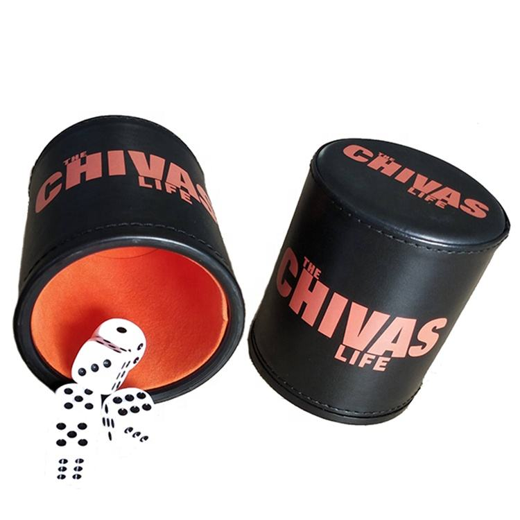 promotional custom leather dice cup set games with felt lining
