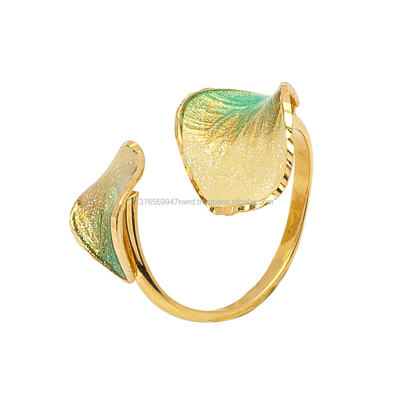 Artur Gold Incanto ANX030 9kt Gold Ring With Aquamarine Ceramic Coating Finish Petals Luxury Customizable Jewellery