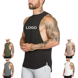 Wholesale custom logo printing breathable sleeveless fashion workout men 100% cotton tank top