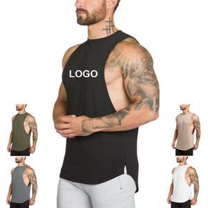 Wholesale custom logo printing breathable sleeveless fashion workout men 100% cotton tank top