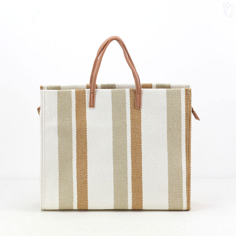 Wholesale Natural Color Stripe Canvas Women Travel Bags Women Handbags Ladies