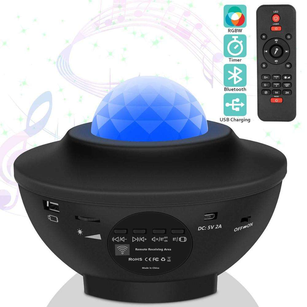 2 in 1 Built-in Music Player Star Light Projector LED Nebula Cloud night light with Remote Control for kids
