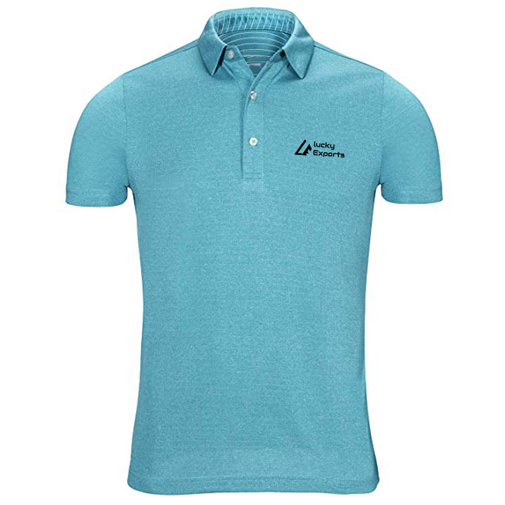 Men Good Quality Fitting Short-Sleeve Polo T Shirt / Sky Blue Color Quick Dry Short Sleeve Polo T-Shirt