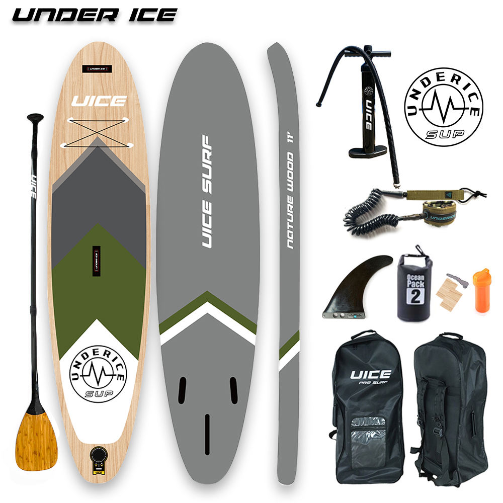 Triple Layer Strongest Wood Design inflatable Sup Stand Up Paddle Board ISUP air board