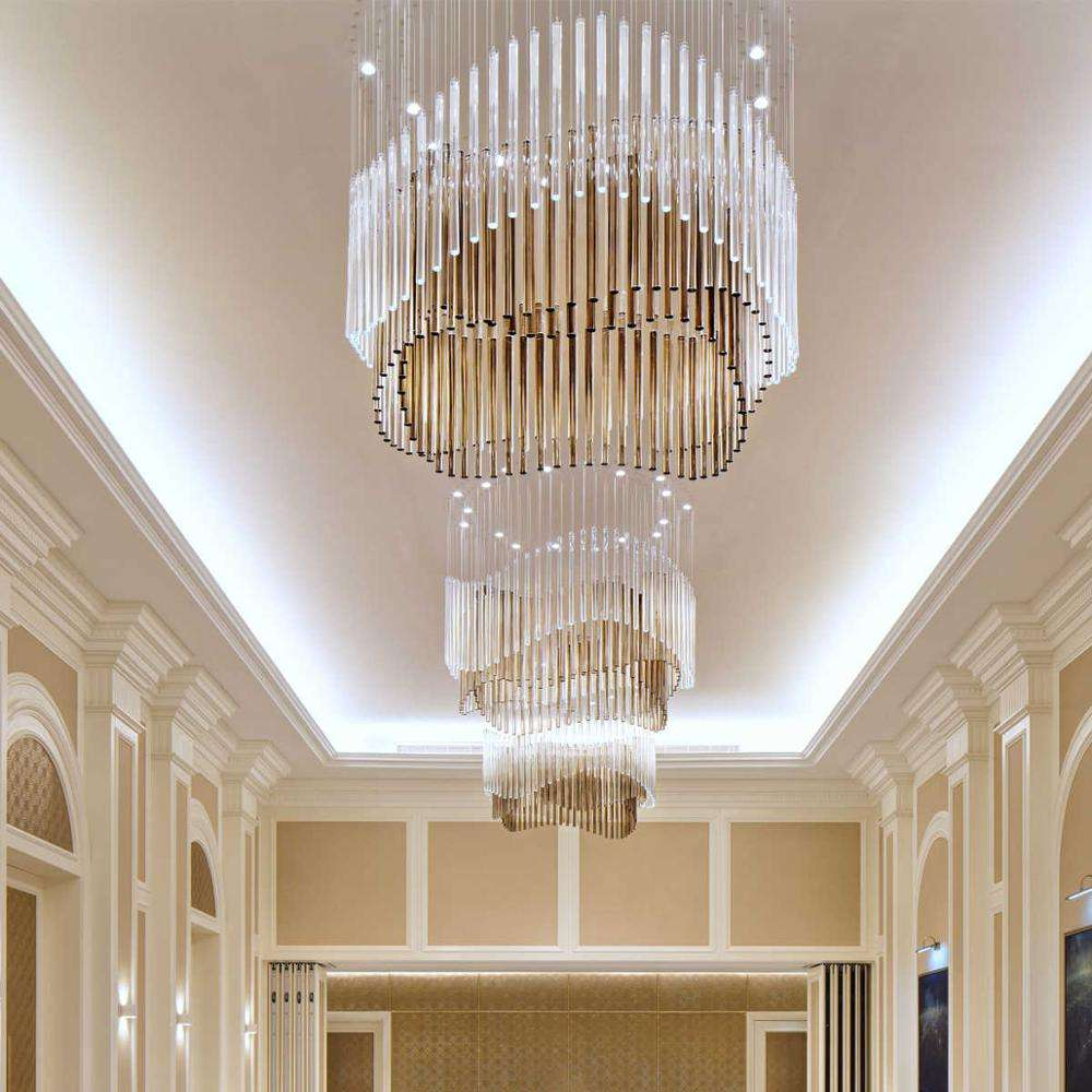 showsun ceiling extra large glass chandelier lighting for hotel lobby