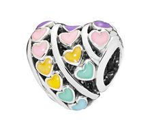 Rainbow heart charms fit for pandora charms bracelet 925 sterling silver mixed enamel charms