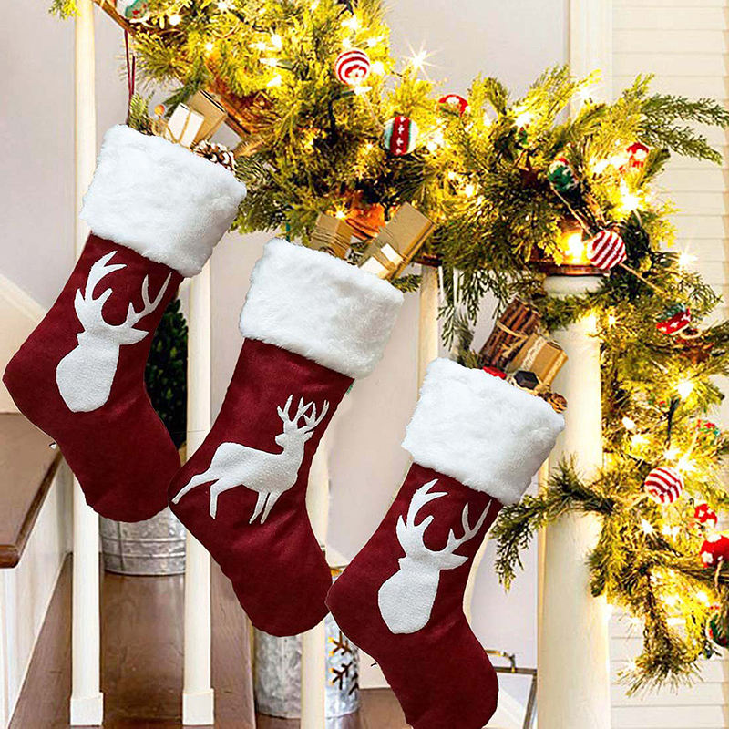 2020 cute decoration supplies elk red socks Christmas ornaments big gift bags women felt Christmas stocking
