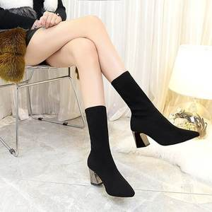 HLS0101 new stovepipe black cylinder elastic force booties Simple heels office ladies shoes boots