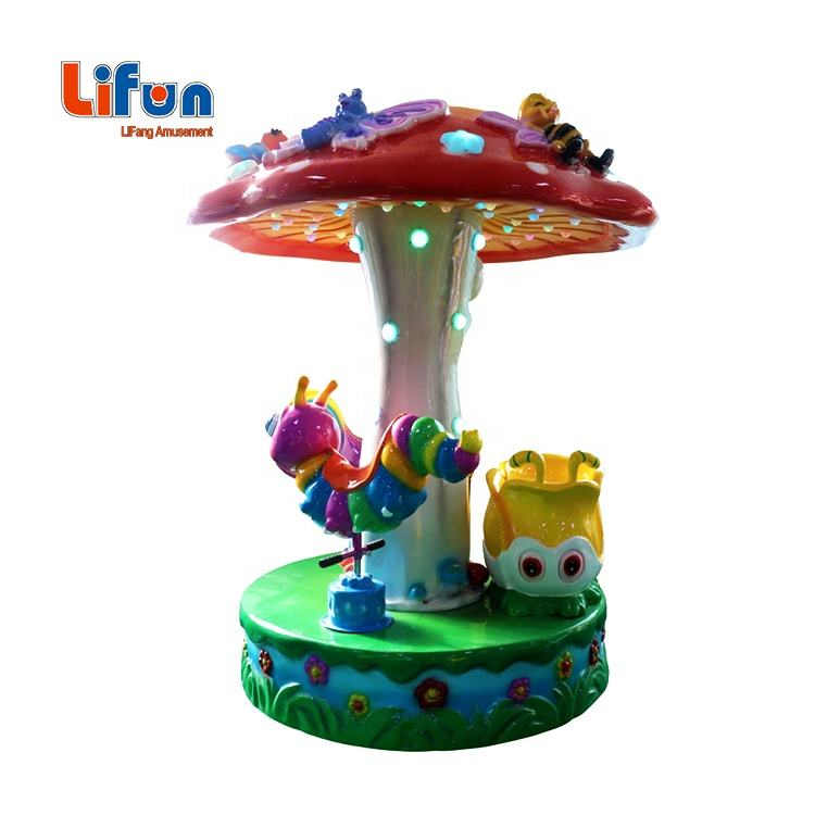 mini kiddie amusement rides plastic 3 seats rotation swing carousel