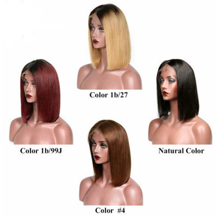 2019 new 4 Colors Available Middle Part Bob Wigs 100% Human Hair Bleached Knots 13x4 Front Lace Wig