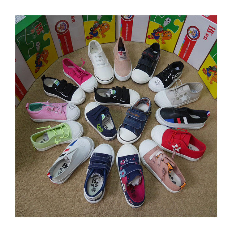 KH891 Wholesale canvas toddler used baby casual shoes in bulk baby sport canvas shoes sneakers