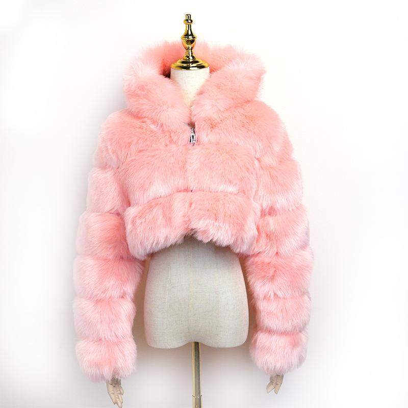 جديد خريف شتاء إمرأة ملابس سترة اقتصاص معاطف الوردي الثعلب الفراء معطف مع الفراء هود جيلي المحافظ حقائب