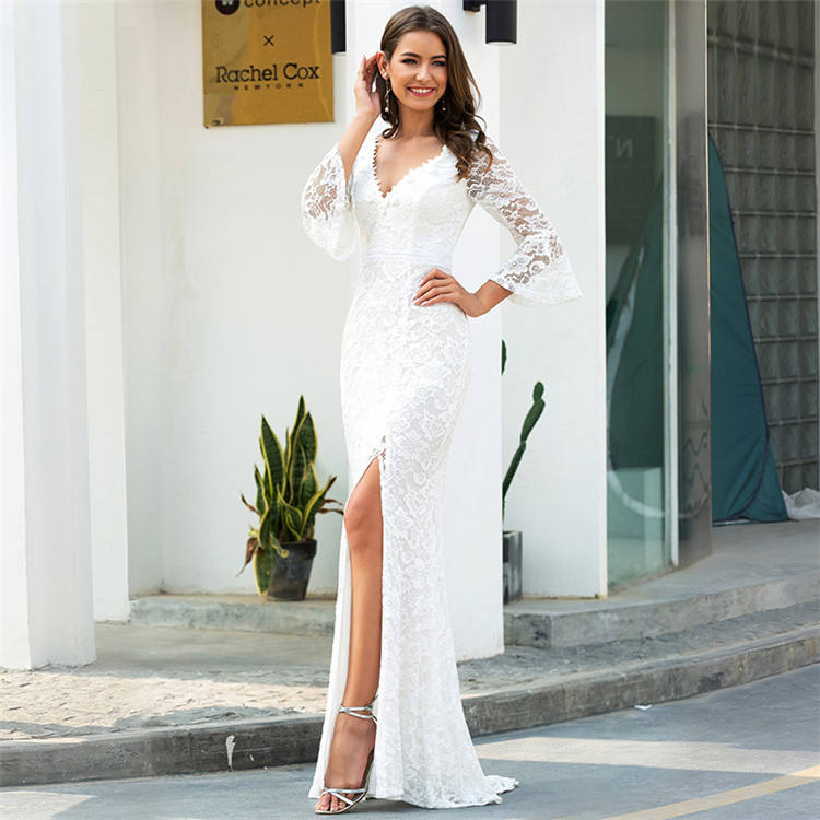Fashion 2021 Summer New Style V-neck Lace Sexy Split Wedding Dress Women