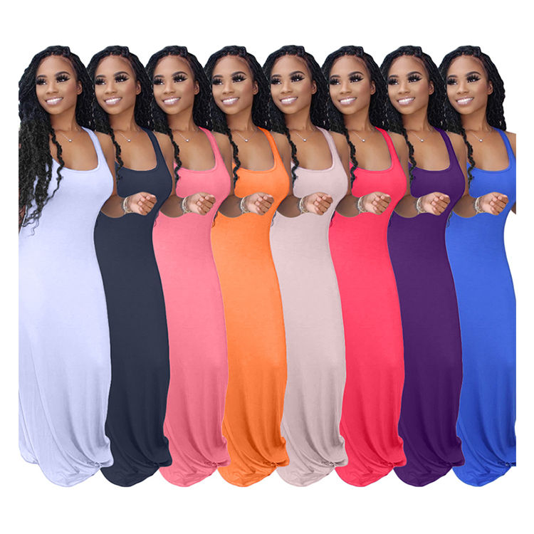 05BF090 2020 Hot sale high quality fashion new solid color Maxi Long Lady Elegant Sexy Clothes Summer Women Girls' Casual Dress