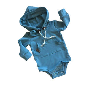 Fall fashion baby boy and girl French terry hooded romper long sleeve bodysuit tops