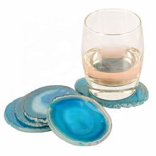 Hot Sale High Quality Natural Blue Agate Quartz Crystal Coaster For Gifts