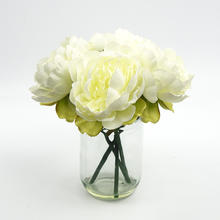 Indoor Decorative White Yellow Artificial Plastic Flowers In Glass Pot