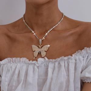Crystal Butterfly Necklace Tennis Clavicle Chain Necklace Ins Diamond Large Butterfly Tennis Necklace