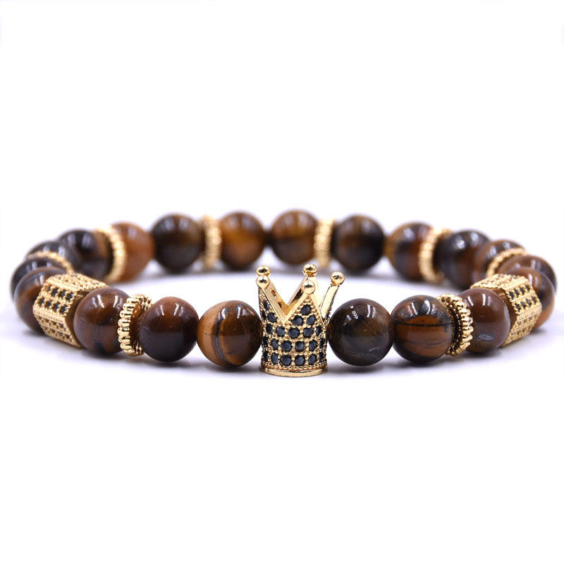 Fashionable Natural Stone Bead King Crown Bracelet Copper Micro Pava CZ Gold Charm Men Bracelet