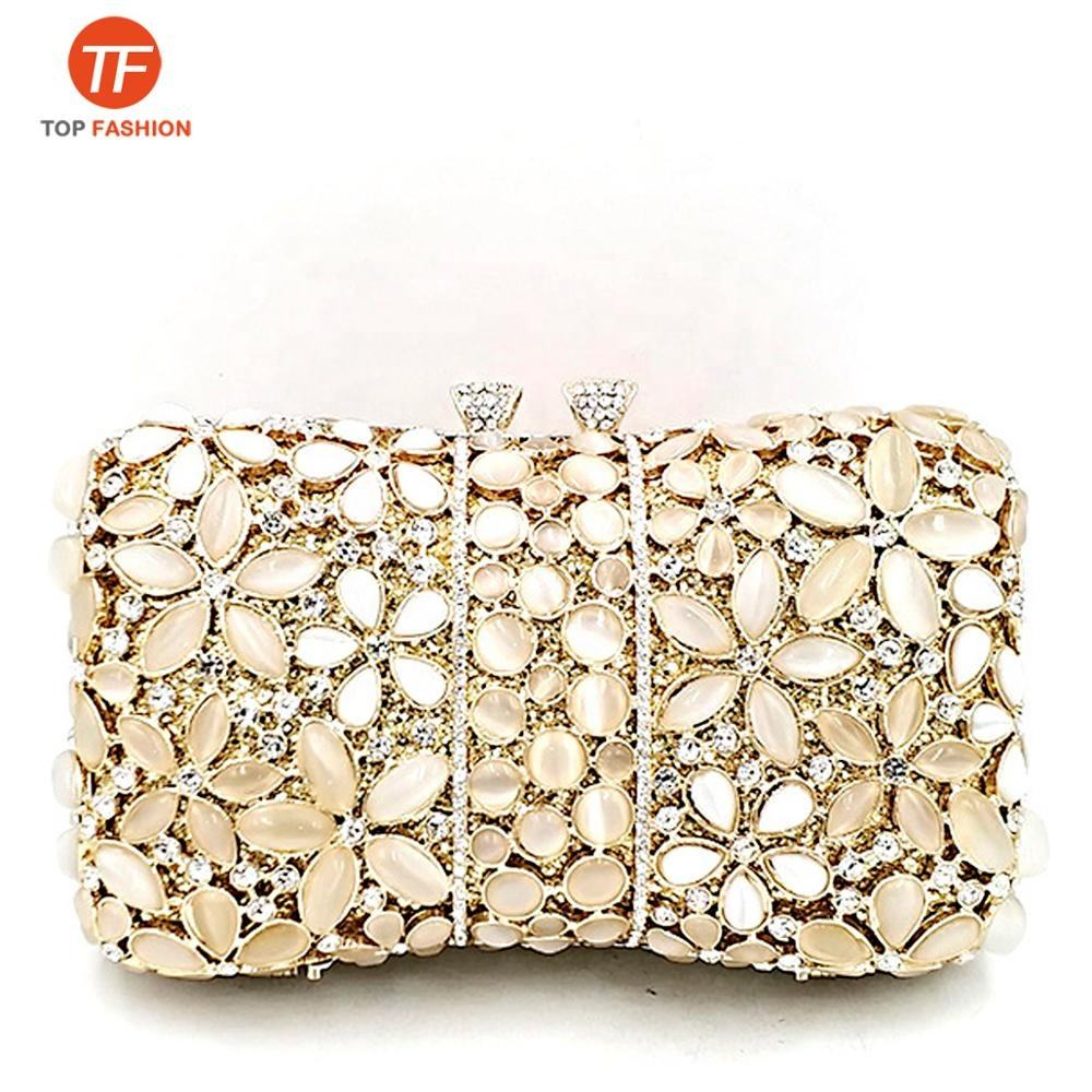 luxury women evening party bag diamonds flower gem crystal clutches elegant opal stones purses from Factory