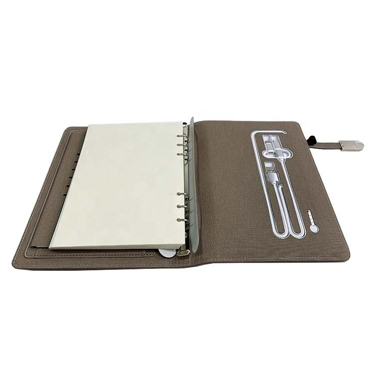 Promotional cheap brown 6 holes ring binder loose leaf a5 power bank notebooks